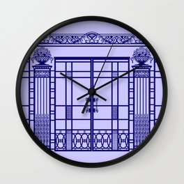 ART DECO, ART NOUVEAU IRONWORK: French Blue Wall Clock