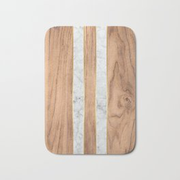 Wood Grain Stripes White Marble #497 Bath Mat