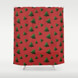 Sparkly Christmas tree green sparkles pattern on Red Shower Curtain
