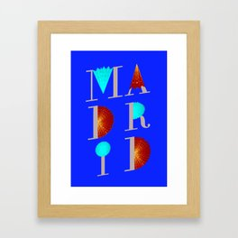 Madrid typographic collage Framed Art Print