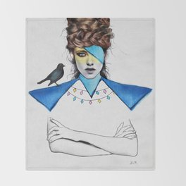 Blue Girl & Black Bird Throw Blanket