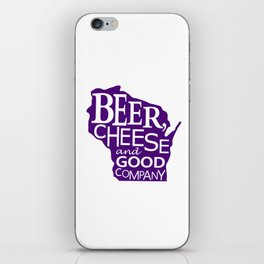 Purple and White Beer, Cheese and Good Company Wisconsin Graphic iPhone Skin