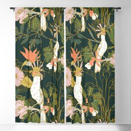 Drawing of exotic birds in the dark jungle Blackout Curtain