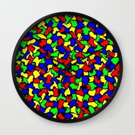 Red Green and Blue Wobble Tiles Wall Clock