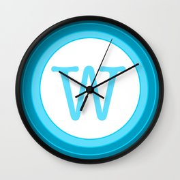 blue letter W Wall Clock