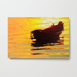Boat at sunset - Acrylic & Palette Knife Paint on Canvas Metal Print