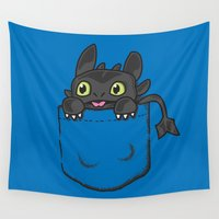 toothless Wall Tapestries featuring Pocket Toothless by Tabner's