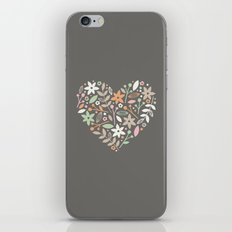Floral Heart - in Charcoal iPhone & iPod Skin