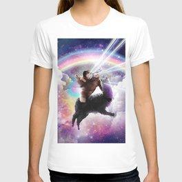 Laser Eyes Space Cat Riding Sloth Llama - Rainbow T-shirt