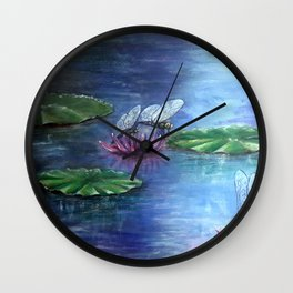 Dragonflies and water lilies Wall Clock