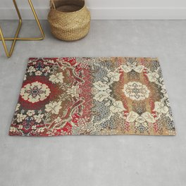 Botanical Embroidery II // Flowery Colorful Red Blue Green Yellow Tan Ornate Accent Rug Pattern Rug