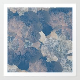 Airforce Blue Floral Hues  Art Print