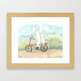 Bunnies on a Bicycle Framed Art Print
