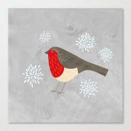 Robin and Snowflakes Canvas Print