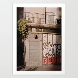 Afternoon strolls in Barcelona Art Print
