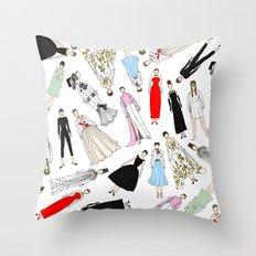 Outfits of Audrey Hepburn Fashion (White) Throw Pillow