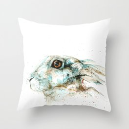 Scared blue hare Throw Pillow