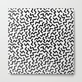 Black Zigzag Memphis Style Black and White Pattern Metal Print