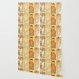 "Alphonse Mucha ""The Flowers (series): Iris, Lily, Carnation, Rose"" Wallpaper"