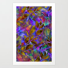 Floral Abstract Stained Glass G129 Art Print