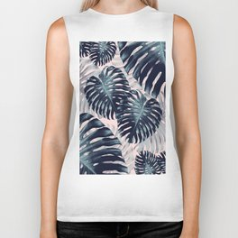 Tropical Monstera Jungle Leaves Pattern #2 #tropical #decor #art #society6 Biker Tank