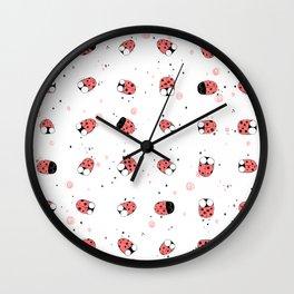 Cute Ladybugs Pattern on White Wall Clock