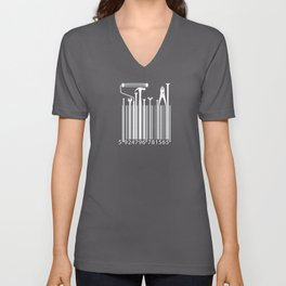 Funny Worker Tradesman Barcode Tools Unisex V-Neck