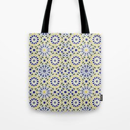 Middle Eastern Tile Pattern in Blue and Yellow #2 Tote Bag