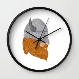 Viking Warrior Head Right Side View Drawing Wall Clock