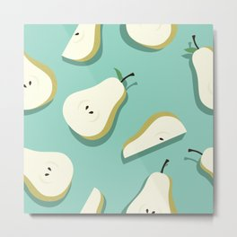 Kitschy Pears on Aqua Metal Print