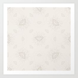 Shiny Diamonds neutral pattern Art Print