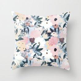 Pretty Grayish Blue Watercolor Pink & White Floral Design Throw Pillow