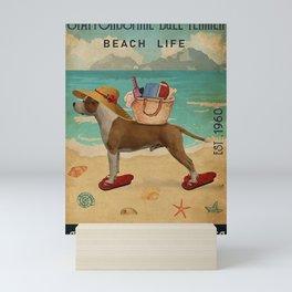Beach Life Sandy Toes Staffordshire Bull Terrier dog Mini Art Print