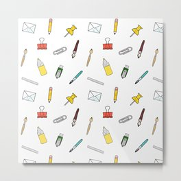 Happy office stationary Metal Print