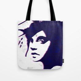 street art style girl in blue and pink on marble pattern Tote Bag