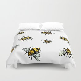 Just Some Beez A - White Duvet Cover