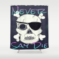 goonies Shower Curtains featuring Goonies Skull by Just Bailey Designs .com