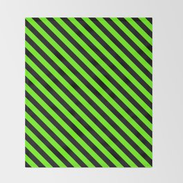 Bright Green and Black Diagonal LTR Stripes Throw Blanket