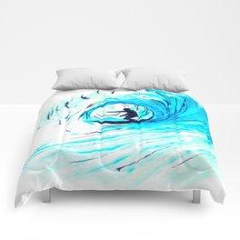 Surfer in blue Comforters
