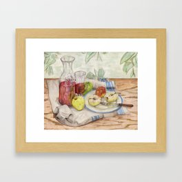 Still life of fruit and wine - Painting Framed Art Print