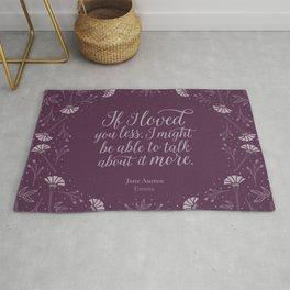 Purple Floral Love Quote  Emma Jane Austen Rug