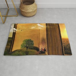 Surrealism Dream world with Book and Chair Rug