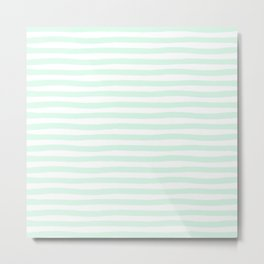 Mint Aqua Hand Drawn Horizontal Stripes Metal Print