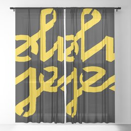 Oh Yes Awesome Typography Sheer Curtain