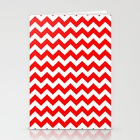 chevron Stationery Cards featuring Chevron (Red/White) by 10813 Apparel