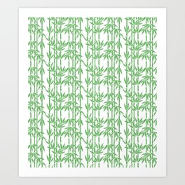 Bamboo Rainfall in White/Sullivan Green Art Print