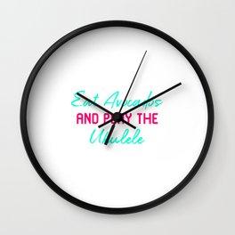 Eat Avocados And Play The Ukulele Funny Play Ukelele Music Wall Clock