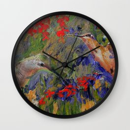 Hummingbirds, Abstract Art, Hummingbird Collage, Modern Art Wall Clock