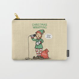 Christmas Wrapping - Funny Xmas Cartoon - Festive Elf Illustration Carry-All Pouch