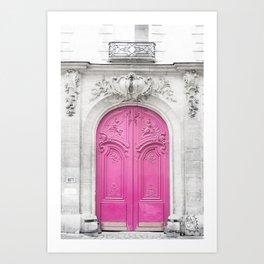 Pink Paris Door - Travel Photography, Building in Paris Art Print